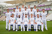Hampshire Team Shot (Back Row L-R) Lewis McManus, Asher Heart, Brad Taylor, Will Smith.(Middle Row L-R) Brad Wheal, Rilee Rossouw, Ryan Stevenson, Reece Topley, Chris Wood, Gareth Berg, Liam Dawson. (Front Row L-R) Kyle Abbott, Michael Carberry, James Vince, Jimmy Adams, Sean Ervine.<br /> Hampshire County Cricket Club Headshots 2017 Press Day at the Ageas Bowl, Southampton, United Kingdom on 29 March 2017. Photo by David Vokes.
