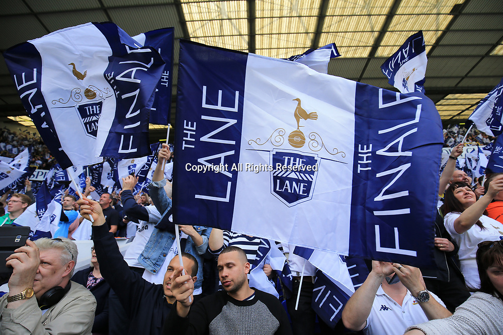 May 14th 2017,White Hart Lane, Tottenham, London, England; EPL Premier League football, Tottenham Hotspur versus Manchester United; Special Farewell flags being waved by Spurs supporters before kick off