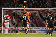 Stoke City goalkeeper Jakob Haugaard tips one over  during the The FA Cup third round match between Doncaster Rovers and Stoke City at the Keepmoat Stadium, Doncaster, England on 9 January 2016. Photo by Simon Davies.
