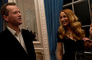 Teddy St. Aubyn and Jerry Hall, Status Anxiety by  Alain de Botton,  book launch. Foreign Press Association, Carlton House Terrace. 2 March 2004. ONE TIME USE ONLY - DO NOT ARCHIVE  © Copyright Photograph by Dafydd Jones 66 Stockwell Park Rd. London SW9 0DA Tel 020 7733 0108 www.dafjones.com