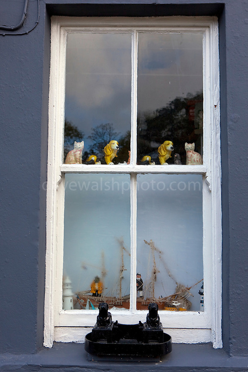 Dog figures at house in Castletownshend, West Cork, Ireland