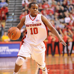 Jan 31, 2009; Piscataway, NJ, USA; Rutgers guard Epiphanny Prince (10) during the second half of South Florida's 59-56 victory over Rutgers in NCAA women's college basketball at the Louis Brown Athletic Center