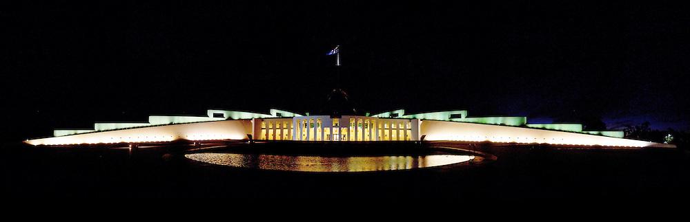 Australian Parliament House at night.