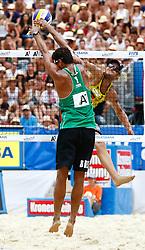07.08.2011, Klagenfurt, Strandbad, AUT, Beachvolleyball World Tour Grand Slam 2011, im Bild Julius Brink (GER) und Joao Maciel (BRA), EXPA Pictures © 2011, PhotoCredit: EXPA/ Erwin Scheriau