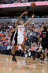 Virginia Cavaliers Guard Sharne? Zoll (5) shoots against Maryland.  The Maryland Terrapins defeated the Virginia Cavaliers 83-74 at the John Paul Jones Arena in Charlottesville, VA on February 10, 2007.