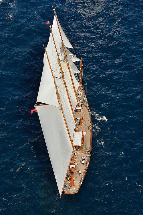 France Saint - Tropez October 2013, Classic yachts racing at the Voiles de Saint - Tropez<br /> <br /> <br /> CAG,SHENANDOAH OF SARK,54,GOELETTE AURIQUE/1902,T.E TERRIS