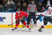 KELOWNA, CANADA - JANUARY 21: Cody Glass #8 of the Portland Winterhawks passes the puck against the Kelowna Rockets on January 21, 2017 at Prospera Place in Kelowna, British Columbia, Canada.  (Photo by Marissa Baecker/Getty Images)  *** Local Caption *** Cody Glass;
