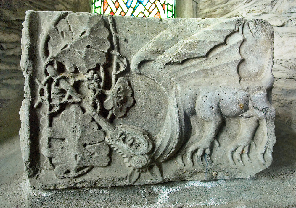 Stone carved dragon motif inside St. Brigid's Cathedral, County Kildare, Ireland