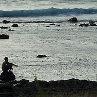 Fishing Child in the Indic Ocean Saint Leu, île de La Reunion.