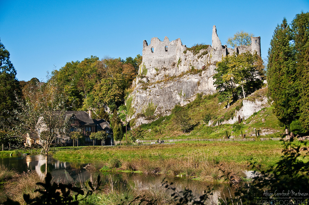 Montaigle Castle Ruins, in Falaën, Wallonia, is in the south of Belgium near the Meuse river and the city of Dinant