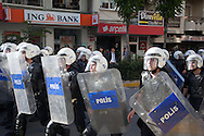 Police contain demonstrators in central Soma, Turkey. Tear gas and water canons were used very early on and with little provocation from demonstrators and mourners, after the town recently lost almost 300 miners from the surrounding area.