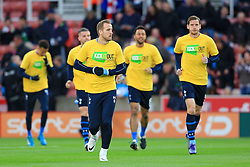 Harry Kane leads the Tottenham players out to warm up - Mandatory by-line: Matt McNulty/JMP - 18/04/2016 - FOOTBALL - Britannia Stadium - Stoke, England - Stoke City v Tottenham Hotspur - Barclays Premier League