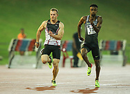 JOHANNESBURG, SOUTH AFRICA - MARCH 22: LeRoux van Tonder and Anaso Jobodwana in the mens 100m during the ASA Speed Series 4 at Germiston Stadium on March 22, 2017 in Johannesburg, South Africa. (Photo by Roger Sedres/ImageSA)