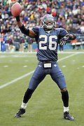 SEATTLE - NOVEMBER 28:  Free safety Ken Hamlin #26 of the Seattle Seahawks celebrates after pulling done one of his two interceptions for the day at Qwest Field on November 28, 2004 in Seattle, Washington. The Bills defeated the Seahawks 38-9. ©Paul Anthony Spinelli *** Local Caption *** Ken Hamlin