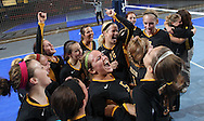 Janesville celebrates their win following the fourth game of their 1A semifinal match in the state volleyball tournament at the U.S. Cellular Center at 370 1st Ave E on Friday evening, November 12, 2010. (Stephen Mally/Freelance)