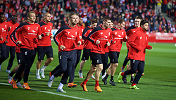 ADELAIDE, AUSTRALIA - Sunday, July 19, 2015: Liverpool's Lucas Leiva, captain Jordan Henderson, James Milner, Harry Wilson, Pedro Chirivella during a training session at Coopers Stadium ahead of a preseason friendly match against Adelaide United on day seven of the club's preseason tour. (Pic by David Rawcliffe/Propaganda)