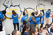 Los Angeles Rams mascot Rampage during community improvement project at Belvedere Elementary School to upgrade play and social spaces around the school by building a new playground structure, painting murals and basketball backboards and landscaping., Friday, June 14, 2019, in Los Angeles, Calif. (Ed Ruvalcaba/Image of Sport)