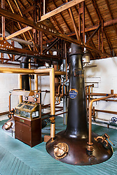 View of  still at Bruichladdich Distillery on island of Islay in Inner Hebrides of Scotland, UK