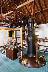 View of  still at Bruichladdich Distillery on island of Islay in Inner Hebrides of Scotland, UK