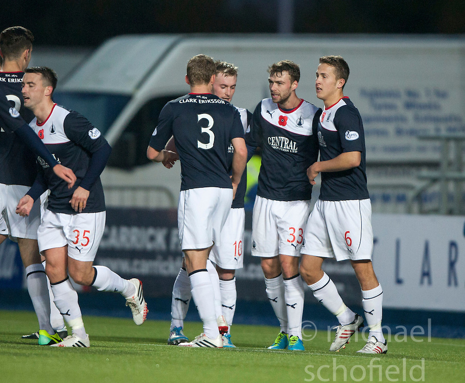 Falkirk's Rory Loy celebrates after scoring their fourth goal.<br /> Falkirk 4 v 1 Livingston, Scottish Championship game played today at the Falkirk Stadium.<br /> &copy;Michael Schofield.