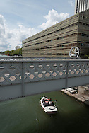 Paris, 19th district. Lift bridge of the rue de Crimee on Canal de l ourcq / pont levant de la rue de crimee