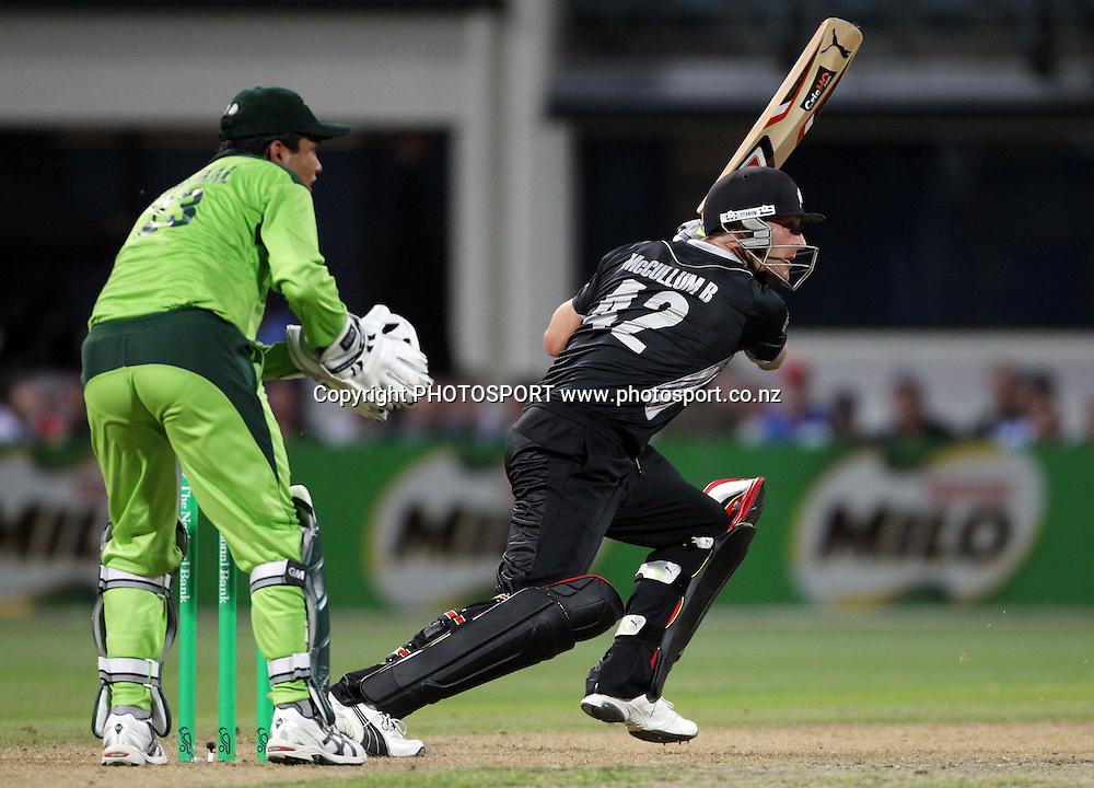 Brendon McCullum batting during the 5th ODI, Black Caps v Pakistan, One Day International Cricket. Seddon Park, Hamilton, New Zealand. Wednesday 3 February 2011. Photo: Andrew Cornaga/photosport.co.nz