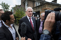 © Licensed to London News Pictures. 29/06/2017. London, UK. Retired Court of Appeal judge Sir Martin Moore-Bick is questioned by reporters as he leaves St Clements Church after meeting with Grenfell fire survivors. He has been chosen to lead the public inquiry into the Grenfell Tower fire. Photo credit: Peter Macdiarmid/LNP