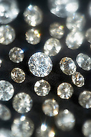 Diamonds on black background selective focus