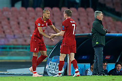 NAPLES, ITALY - Wednesday, October 3, 2018: Liverpool's captain James Milner is replaced by substitute Fabio Henrique Tavares 'Fabinho' during the UEFA Champions League Group C match between S.S.C. Napoli and Liverpool FC at Stadio San Paolo. (Pic by David Rawcliffe/Propaganda)