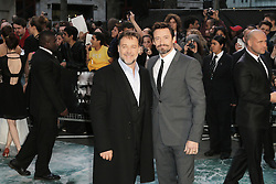 © Licensed to London News Pictures. 31/03/2014, UK. Russell Crowe; Hugh Jackman, Noah - UK film premiere, Odeon Leicester Square, London UK, 31 March 2014. Photo credit : Richard Goldschmidt/Piqtured/LNP