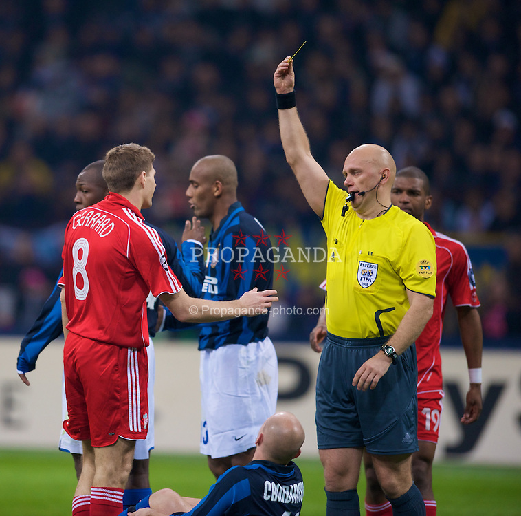 MILAN, ITALY - Tuesday, March 10, 2008: Liverpool's captain Steven Gerrard MBE is shown the yellow card by referee Tom Henning Ovrebo during the UEFA Champions League First knockout Round 2nd Leg match against FC Internazionale Milano at the San Siro. (Pic by David Rawcliffe/Propaganda)