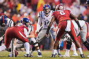 FAYETTEVILLE, AR - NOVEMBER 22:  Bo Wallace #14 of the Ole Miss Rebels calls a play at the line of scrimmage against the Arkansas Razorbacks at Razorback Stadium on November 22, 2014 in Fayetteville, Arkansas.  The Razorbacks defeated the Rebels 30-0.  (Photo by Wesley Hitt/Getty Images) *** Local Caption *** Bo Wallace
