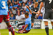 Marc Albrighton of Leicester City (11) is fouled during the Pre-Season Friendly match between Scunthorpe United and Leicester City at Glanford Park, Scunthorpe, England on 16 July 2019.