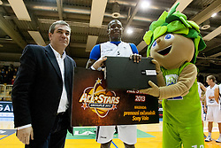 Roman Volcic and Ousman Senega Krubally during Slovenian basketball All Stars Grosuplje 2013 event, on December 29, 2013 in Arena Brinje, Grosuplje, Slovenia. (Photo By Urban Urbanc / Sportida.com)