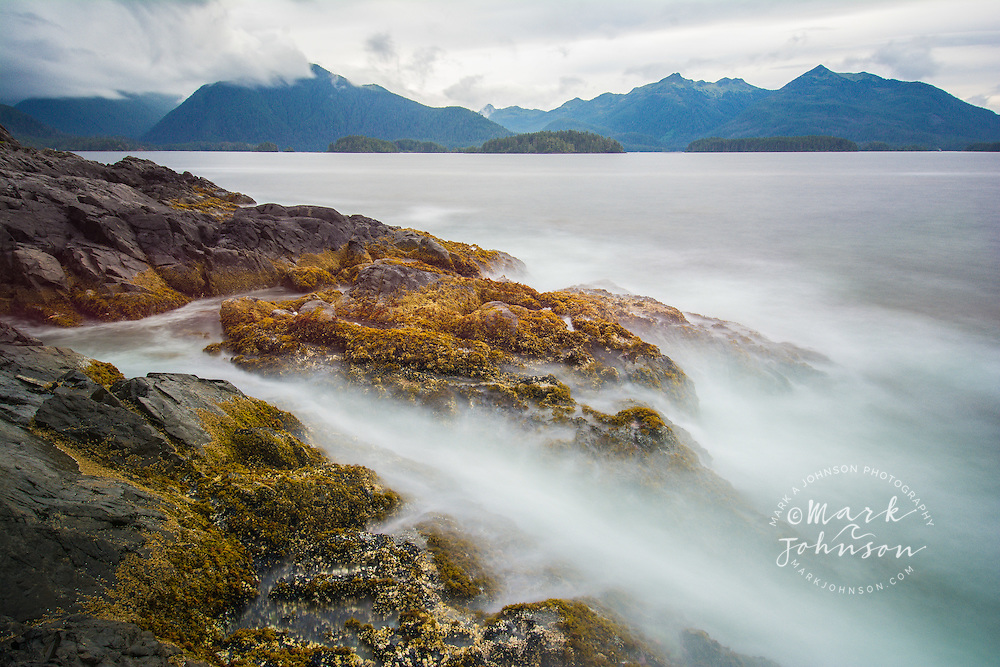Wave action on the shores of Bamdoroshni Island off the coast of Sitka, Alaska