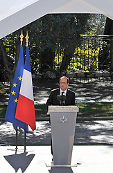 French President Francois Hollande attends the ceremony during the National Ceremony for the 86 victims of Nice terror attack on last 14th July 2016 at the Colline du Château in Nice, southern France, on october 15, 2016. Ministers and politicians in front of about 2000 people including the victims families and rescue forces participated ceremony. Photo by Pierre Rousseau/CIT'images/ABACAPRESS.COM