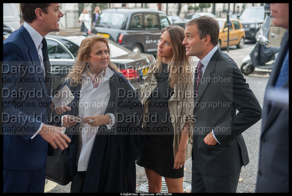 LORD ALEXANDER SPENCER-CHURCHILL; ISOBEL GOLDSMITH; JEMIMA JONES; BEN GOLDSMITH, Memorial service for Mark Shand.  . St. Paul's Knightsbridge. September 11 2014.