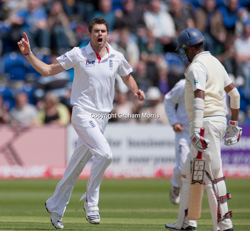 Thilan Samaraweera is given a send off by bowler James Anderson during the first npower Test Match between England and Sri Lanka at the SWALEC Stadium, Cardiff.  Photo: Graham Morris (Tel: +44(0)20 8969 4192 Email: sales@cricketpix.com) 27/05/11