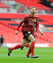 Wrexham's Louis Moult celebrates scoring against North Ferriby United in FA Trophy Final at Wembley Stadium - Photo mandatory by-line: Paul Knight/JMP - Mobile: 07966 386802 - 29/03/2015 - SPORT - Football - London - Wembley Stadium - North Ferriby United v Wrexham - FA Trophy