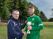 Dundee Saturday Morning Football League president Steve McSwiggan presents Hilltown Hotspurs' Liam Peters with the premier division player rof the season award: Dundee Saturday Morning Football League at University Grounds, Riverside, Dundee, Photo by David Young<br /> <br /> <br />  - &copy; David Young - www.davidyoungphoto.co.uk - email: davidyoungphoto@gmail.com