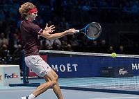 Tennis - 2017 Nitto ATP Finals at The O2 - Day Five<br /> <br /> Group Boris Becker Singles: Alexander Zverev (Germany) Vs Jack Sock (United States)<br /> <br /> Alexander Zverev (Germany) rushes to the net to return <br /> at the O2 Arena<br /> <br /> COLORSPORT/DANIEL BEARHAM