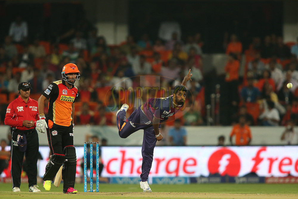 Thisara Perera of Rising Pune Supergiants sends down a delivery during match 22 of the Vivo IPL 2016 (Indian Premier League) between the Sunrisers Hyderabad and the Rising Pune Supergiants held at the Rajiv Gandhi Intl. Cricket Stadium, Hyderabad on the 26th April 2016<br /> <br /> Photo by Shaun Roy / IPL/ SPORTZPICS