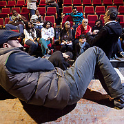 (03/15/2011 JERUSALEM) Ramzi Maqdisi who plays Martin Luther King Jr. in the play relaxes on stage as he listens to Kamel El Basha the director of the play along with the rest of the cast. This was the first rehearsal for the Passages of Martin Luther King cast at the El Hakawati Theatre in Jerusalem.[WILLIE J. ALLEN JR.]