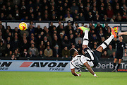 Derby County striker Darren Bent (11) tries a spectacular over head kick but is offside (0-0) during the EFL Sky Bet Championship match between Derby County and Burton Albion at the Pride Park, Derby, England on 21 February 2017. Photo by Richard Holmes.
