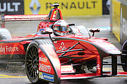 Dragon Racing driver, Jerome D'Ambrosio in the rain during Round 9 of Formula E, Battersea Park, London, United Kingdom on 2 July 2016. Photo by Matthew Redman.