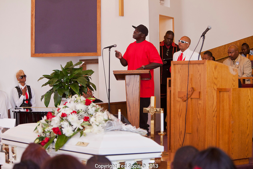 Kevin's Brother, &quot;Bam,&quot; speaking.<br /> Funeral services for Kevin &quot;Flipside&quot; White at Macedonia Church in Watts.<br /> White was shot dead in what is believed to be an unprovoked attack during a gang conflict at Watts' Nickerson Gardens and Jordan Downs housing projects.<br /> Flipside, 44, was a founding member of Watts' first major label hip hop act, O.F.T.B. (Operation From The Bottom).