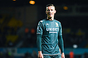 Leeds United defender Ben White (5) warming up during the EFL Sky Bet Championship match between Leeds United and West Bromwich Albion at Elland Road, Leeds, England on 1 October 2019.
