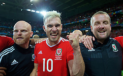 LILLE, FRANCE - Friday, July 1, 2016: Wales' Aaron Ramsey celebrates a 3-1 victory over Belgium and reaching the Semi-Final during the UEFA Euro 2016 Championship Quarter-Final match at the Stade Pierre Mauroy. (Pic by David Rawcliffe/Propaganda)