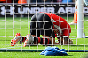 Danny Ings (9) of Southampton head down in the goal mouth after shooting at goal and missing the target during the Premier League match between Southampton and Chelsea at the St Mary's Stadium, Southampton, England on 7 October 2018.