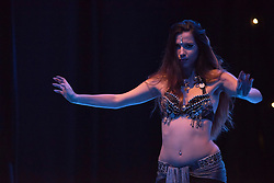 Dabke Fusion was a weekend of international bellydancing in Edinburgh this weekend. There were workshops led by internationally renowned bellydancer Deb Rubin from the USA and a showcase performance on Saturday night at the Assembly Roxy theatre, featuring a mixture of international and Scottish dancers covering a wide range of styles of dancing, belying the perception that all bellydancing is the same. Pictured: Ivana Buric<br /> <br /> <br /> &copy; Jon Davey/ EEm